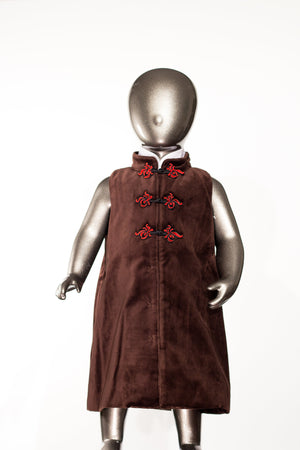 Rebecca - Robe chinoise en velours marron