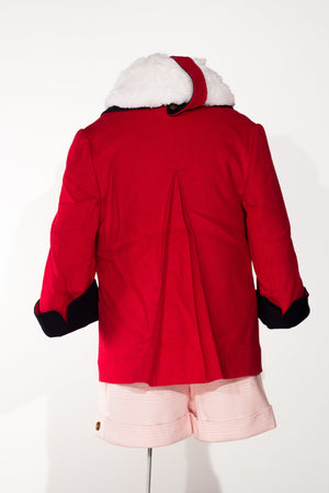 Michelle - Manteau de voiture rouge en laine