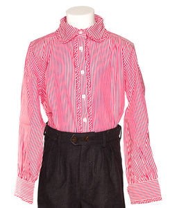 5ddd992c027135 Cassandra-red and white striped blouse with claudine collar and frowns