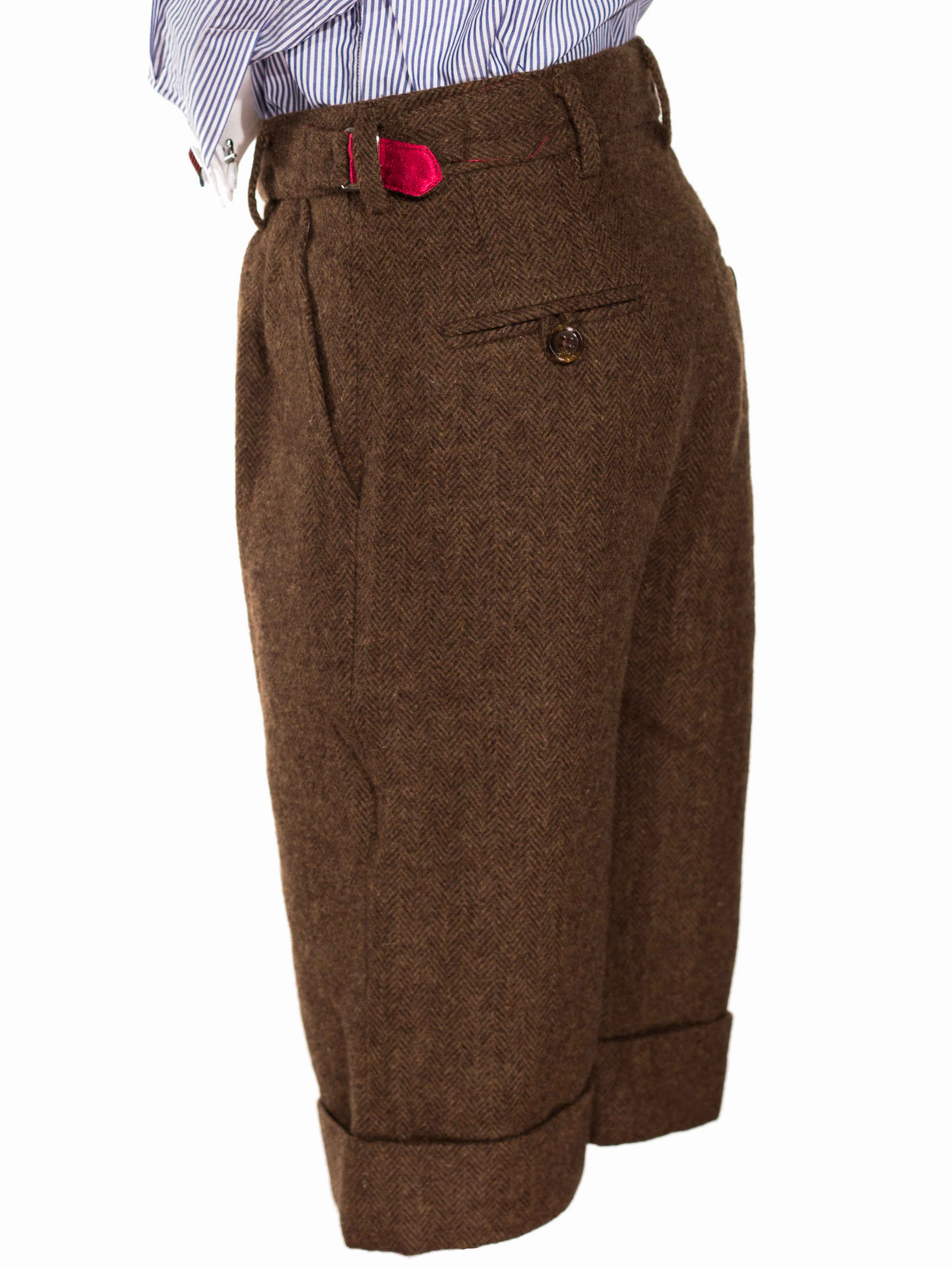 Patrick - Pantalon marron à chevrons