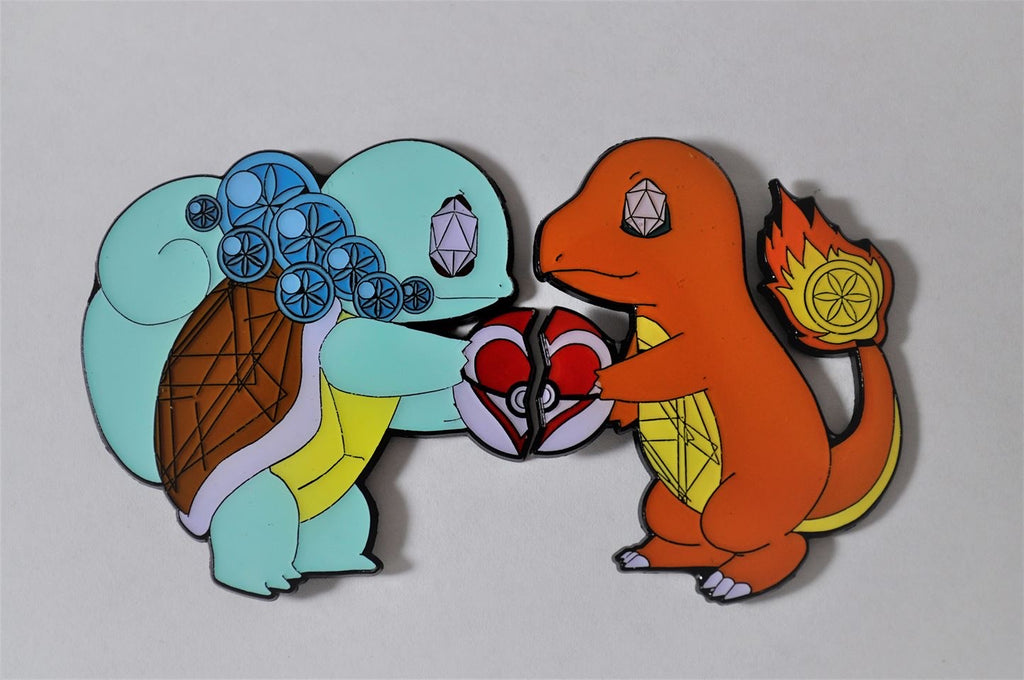 Charmander & Squirtle Best friend / couples pin set