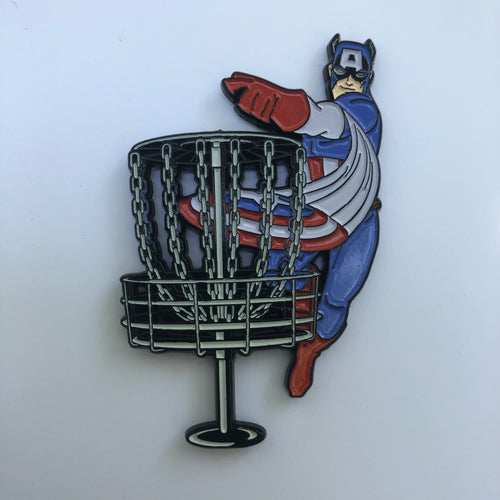 Captain America Disc Golf Pin
