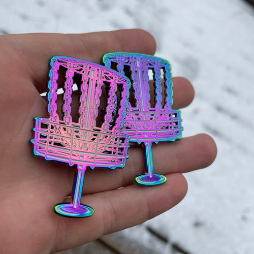 Anodized Rainbow Metal Disc Golf basket pin