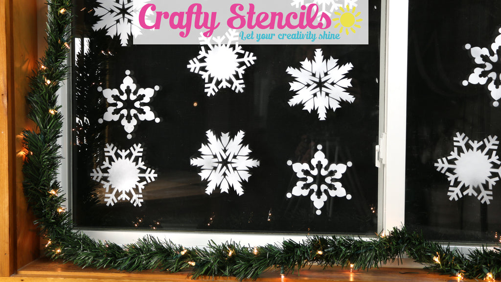 Stencil Snowflakes on Windows with Temporary Snow Frost