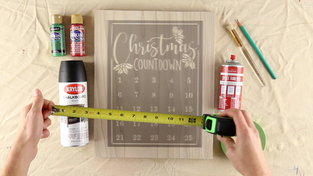 Krylon Chalboard Spray Paint and Tape Measure purchased separately