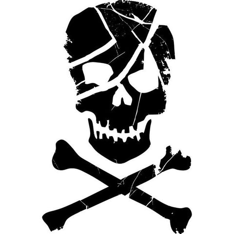 Scarred Skull and Crossbones Stencil