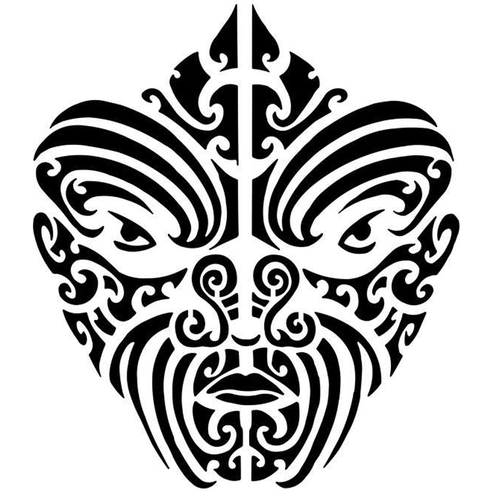 Warrior Mask Tribal Tattoo Stencil