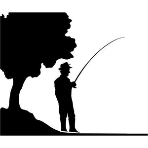 Lakefront Fishing Stencil