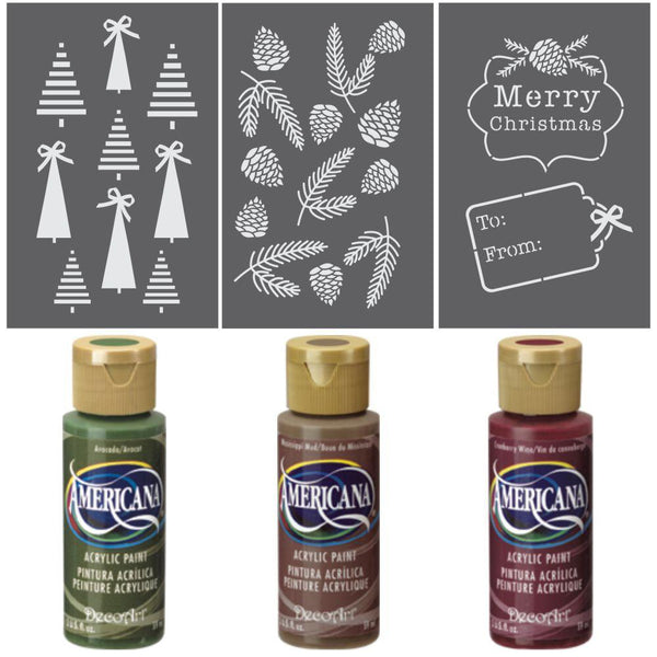 Christmas Greenery Gift Wrap Stencil Kit