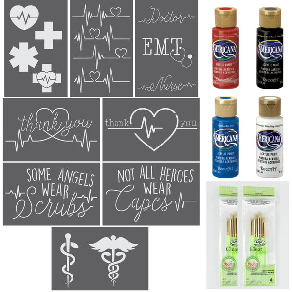 Medical Appreciation Craft 8 Piece Stencil Kit