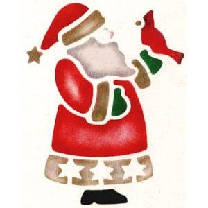 Santa with Bird Craft Stencil