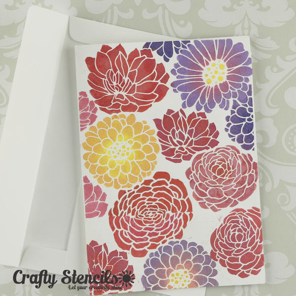 Abstract Floral Mini Craft Stencil by Crafty Stencils