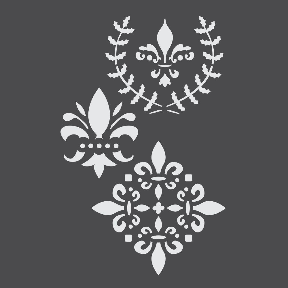 Assorted Vintage Fleur De Lis Craft Stencils