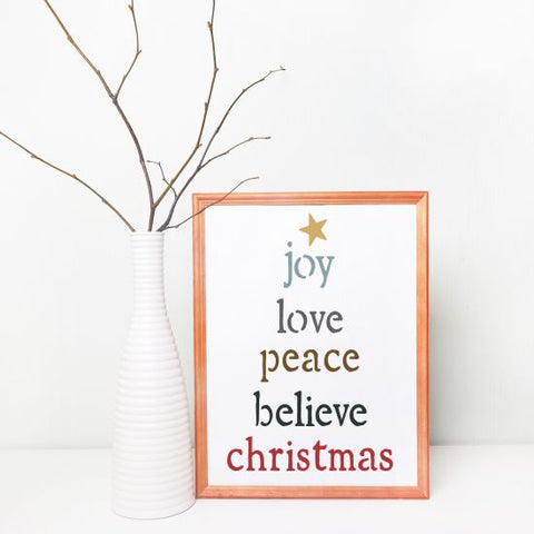 Joy Love Peace Craft Stencil