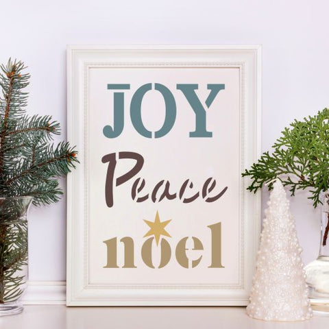 Joy Peace Noel Craft Stencil by Crafty Stencils