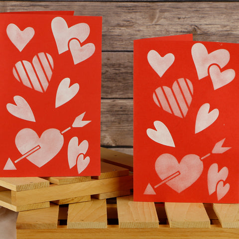 Valentine's Hearts Craft Stencil by Crafty Stencils