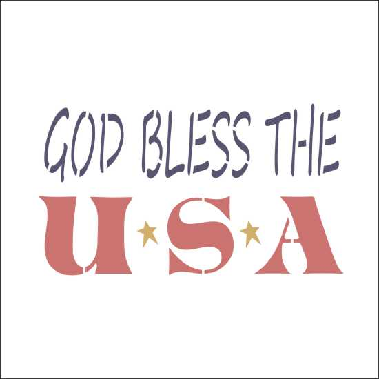 God Bless the USA Craft Stencil