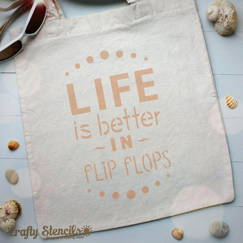 Flip Flops Expression Craft Stencil by Crafty Stencils