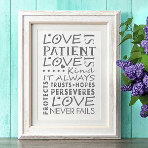 Love is Patient Craft Stencil by Crafty Stencils