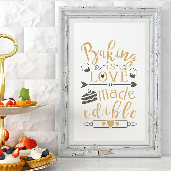 Baking is Love Made Edible Craft Stencil by Crafty Stencils