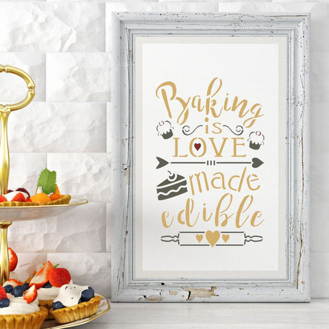 Baking is Love Made Edible Craft Stencil
