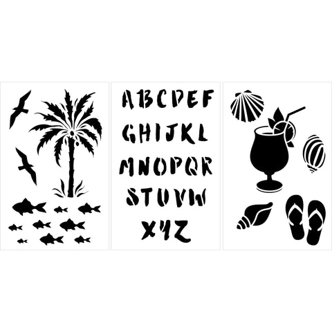 Vacation 3pc Craft Stencil