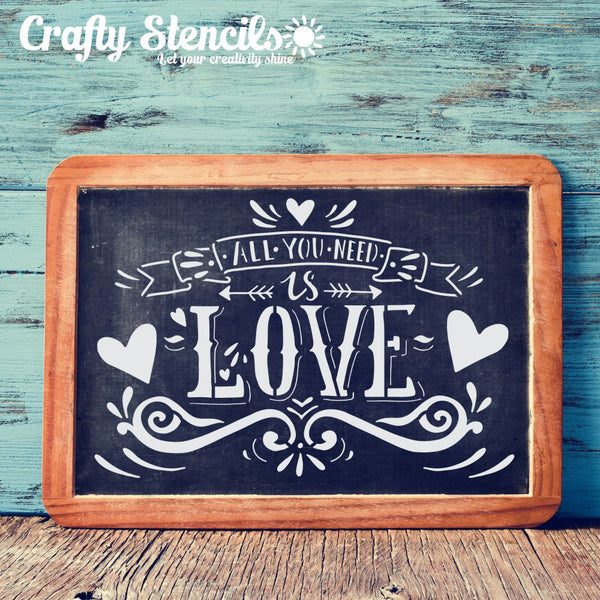 All You Need Is Love Craft Stencil by Crafty Stencils