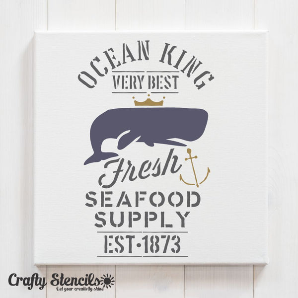 Fresh Seafood Craft Stencil by Crafty Stencils