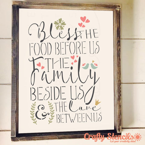 Bless the Food Before Us Craft Stencil