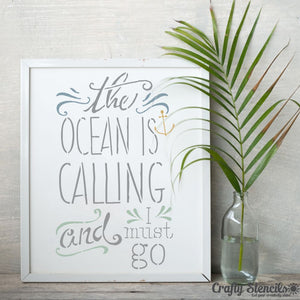 The Ocean is Calling Expression Craft Stencil