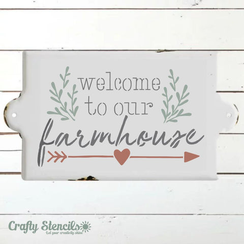 Welcome to Our Farmhouse Craft Stencil by Crafty Stencils
