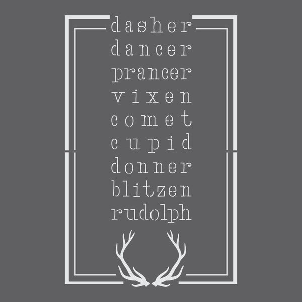 Reindeer Names Craft Stencil
