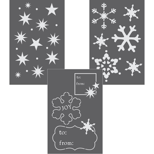 Snowflakes and Stars Gift Wrap Stencil Set