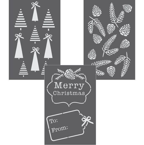 Christmas Greenery Gift Wrap Stencil Set