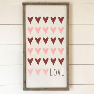 Rows of Hearts Valentines Craft Stencil