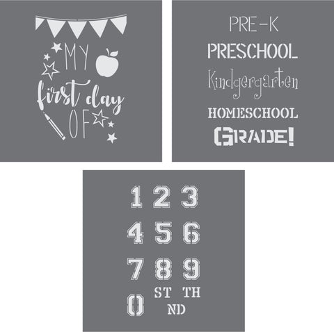 3 Piece Back to School Stencil Pack