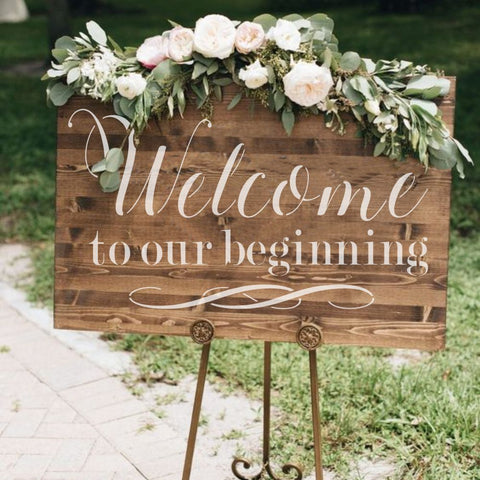Welcome to Our Beginning Wedding Sign Stencil