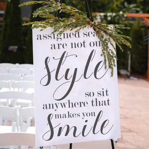 Ceremony Seating Wedding Sign Stencil