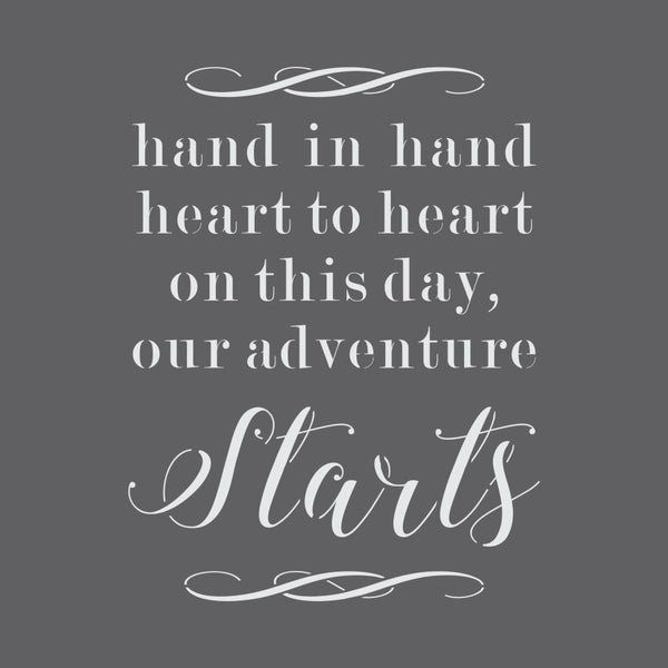 Our Adventure Starts Wedding Sign Stencil