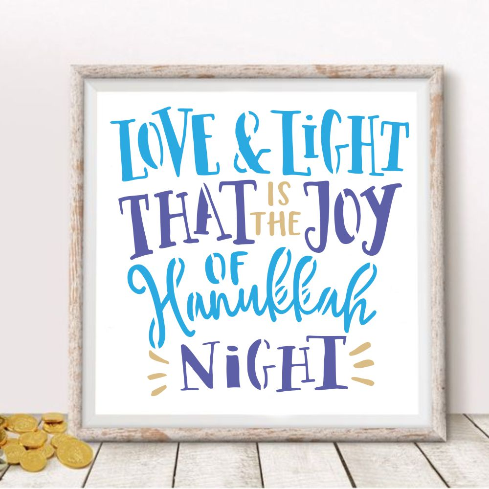 Love and Light Hanukkah Craft Stencil