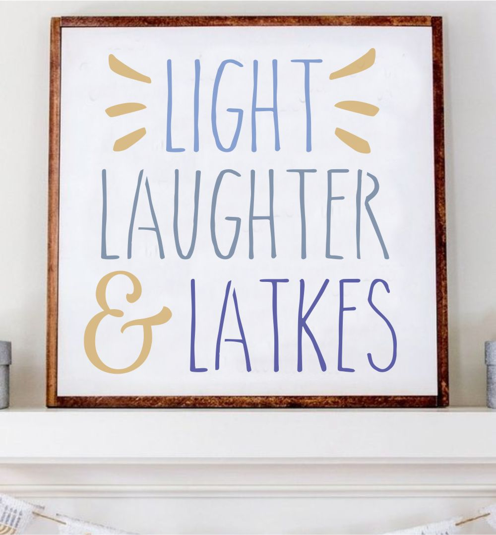 Light Laughter and Latkes Hanukkah Craft Stencil