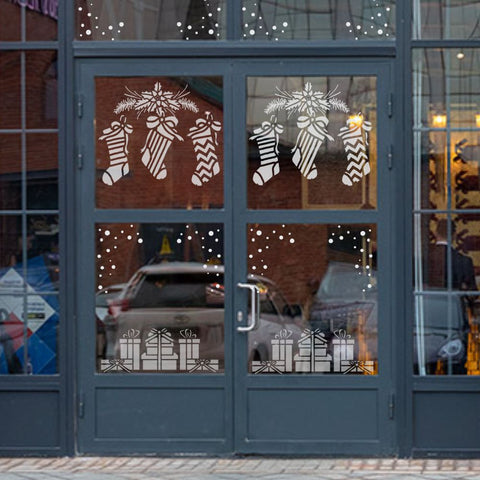 Christmas Stockings Window Stencil
