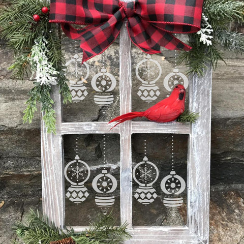 Vintage Ornaments Window Stencil