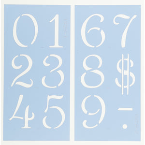 Simple Script Number Stencil Set
