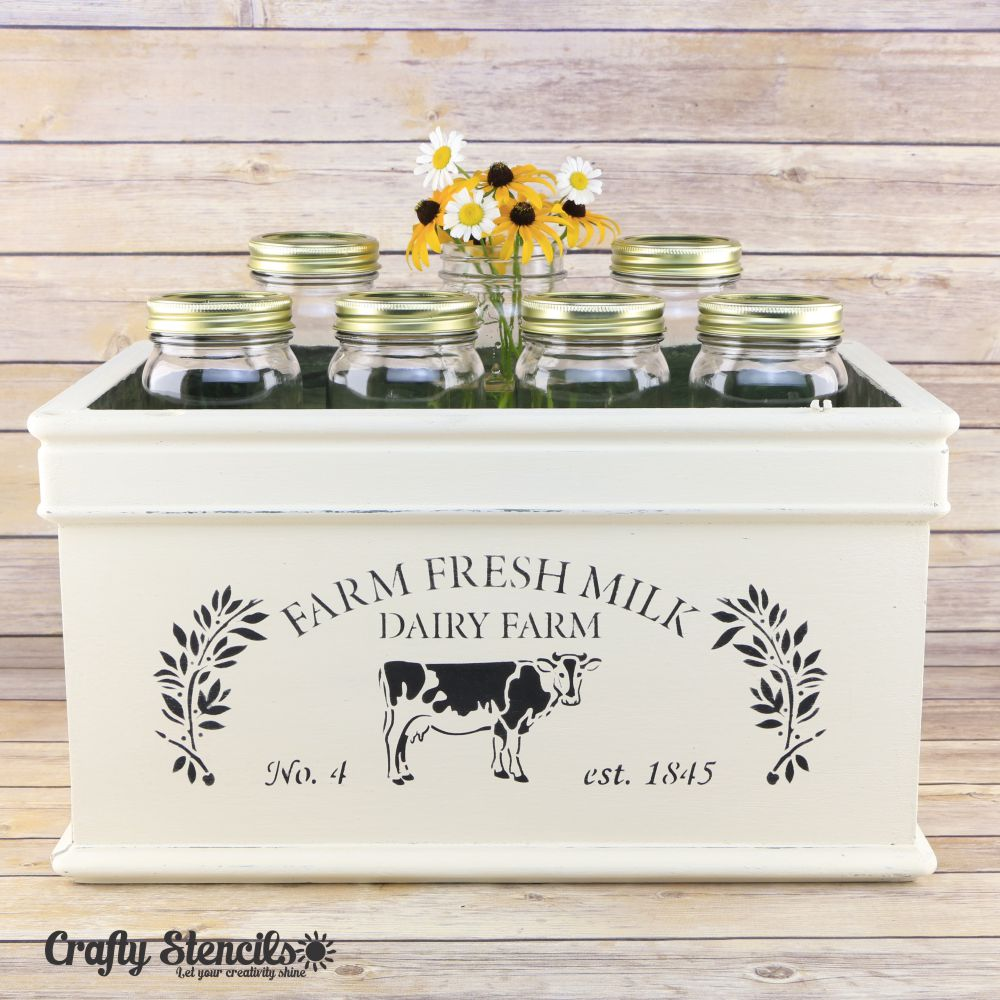 Farm Fresh Milk Craft Stencil