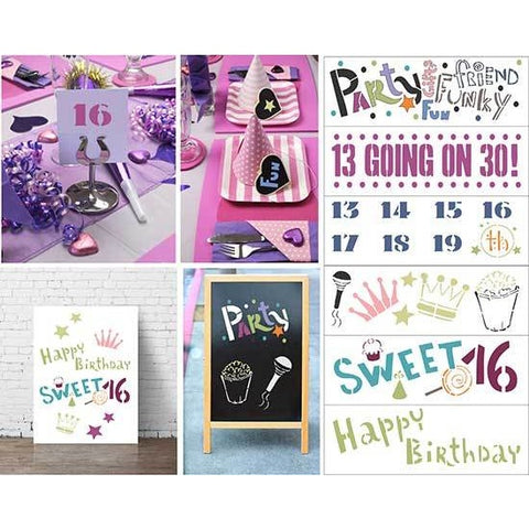 Ultimate Teen Birthday 6 Piece Craft Stencil by Crafty Stencils