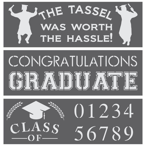 Graduation DIY Craft 3 Piece Stencil Kit