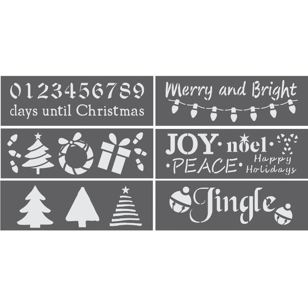 Merry and Bright 6 Piece Christmas Craft Stencil Kit