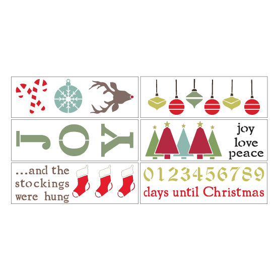 Deck the Halls 6 Piece Christmas Craft Stencil Kit