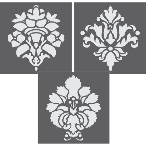 Damask Motifs 3 Piece Mini Stencil Set